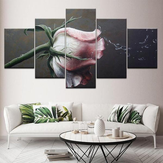 Pink Rose Flower Canvas Wall Art Prints