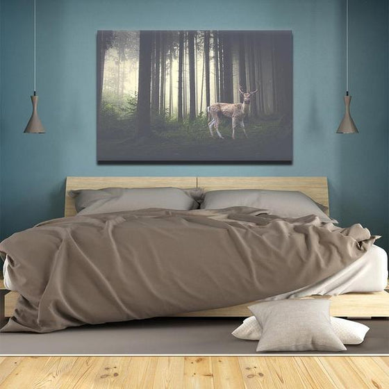 Foggy Forest With A Wild Deer Canvas Wall Art Bedroom