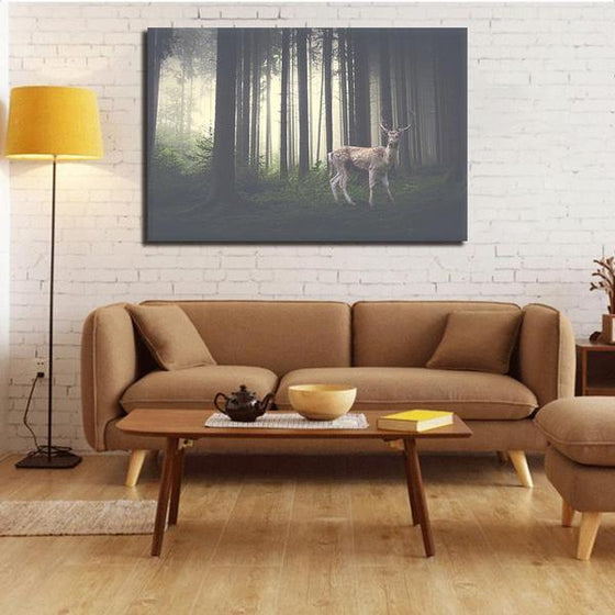 Foggy Forest With A Wild Deer Canvas Wall Art Living Room