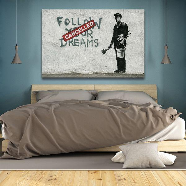 BANKSY FOLLOW YOUR DREAMS STREET ART GLOSSY WALL ART POSTER PRINT ALL SIZES