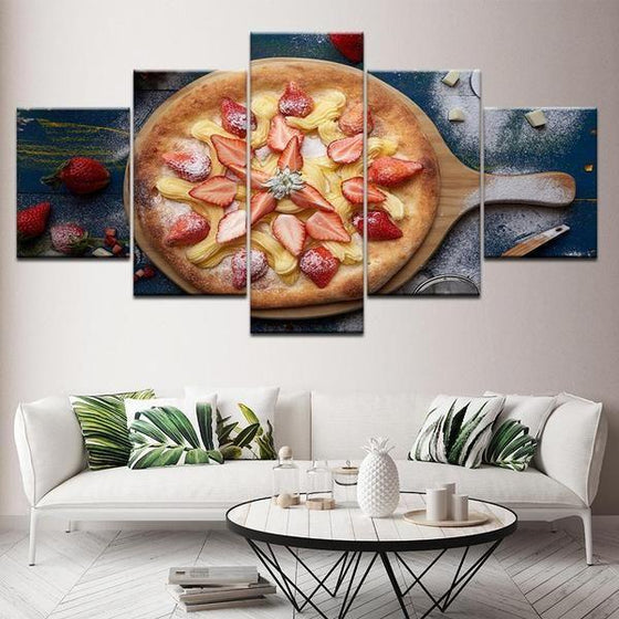 Pizza With Fruit Toppings Canvas Wall Art Prints