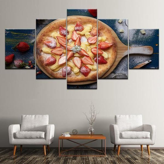 Pizza With Fruit Toppings Canvas Wall Art