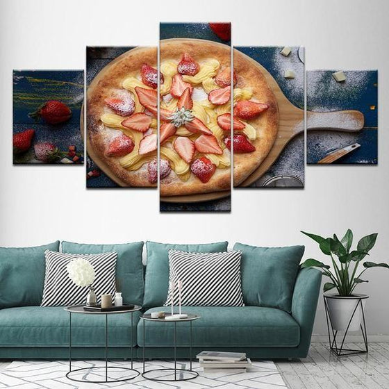 Pizza With Fruit Toppings Canvas Wall Art Living Room