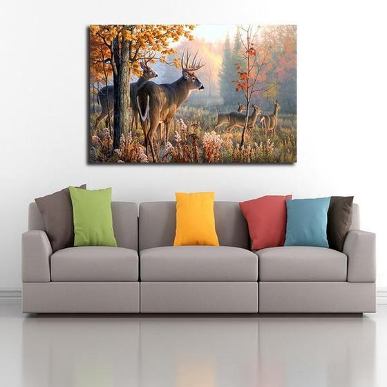 Forest Dears Canvas Wall Art Living Room