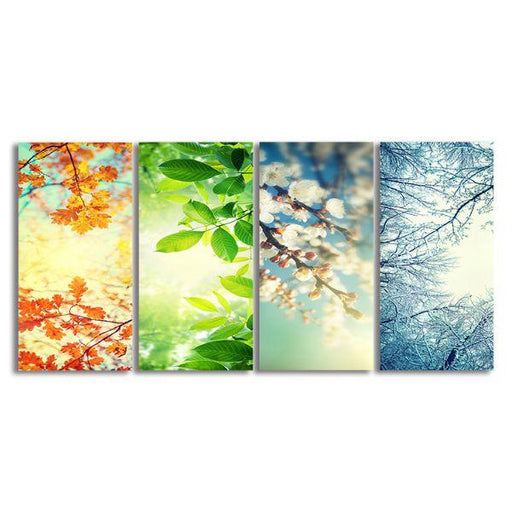 Four Seasons Collage 4 Panels Canvas Wall Art