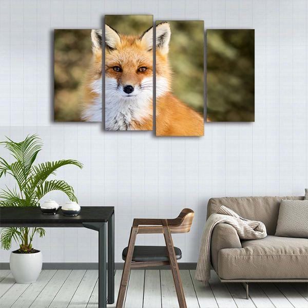 Adorable Wild Red Fox 4 Panels Canvas Wall Art Kitchen