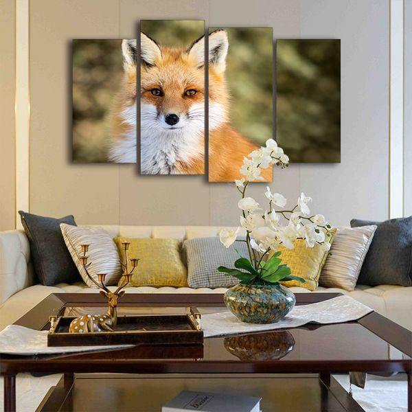 Adorable Wild Red Fox 4 Panels Canvas Wall Art Living Room