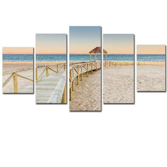 Wooden Bridge Beach Sea View Canvas Wall Art