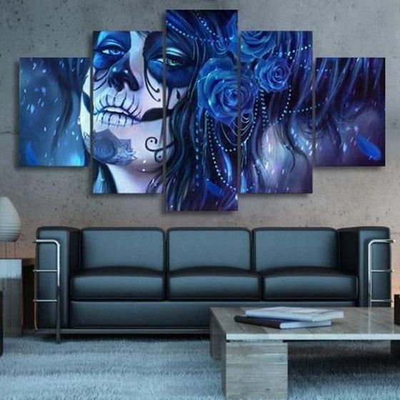 Day Of The Dead Inspired Face Canvas Wall Art Home Decor