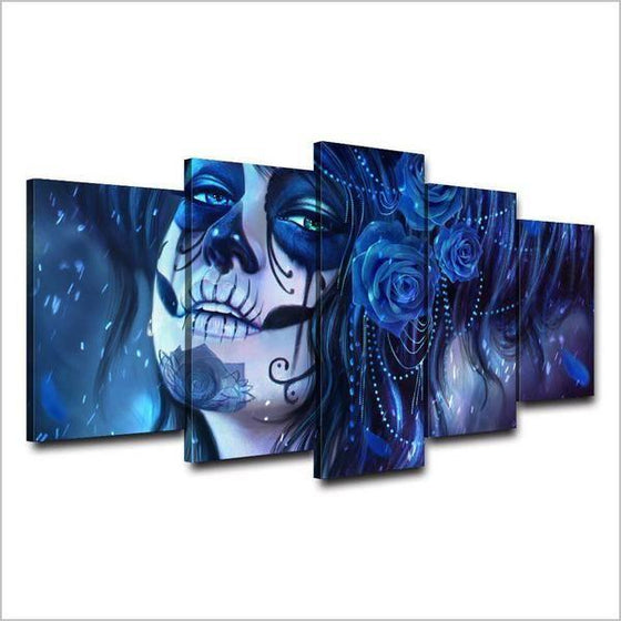 Day Of The Dead Inspired Face Canvas Wall Art Ideas