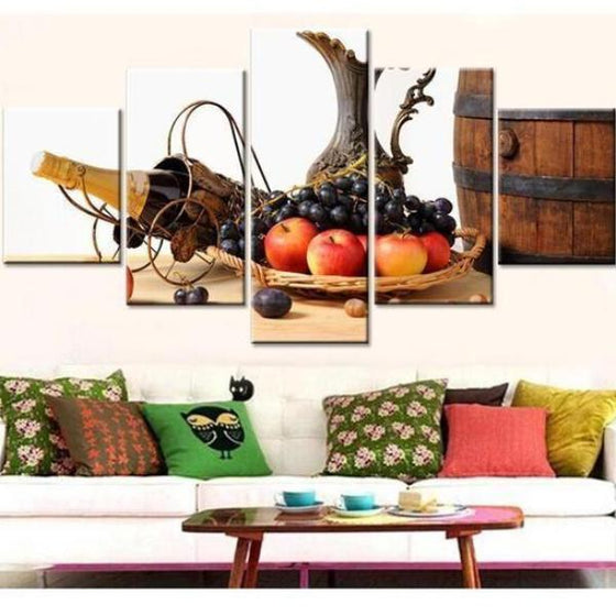 Fruit Tray And Wine Canvas Wall Art Living Room