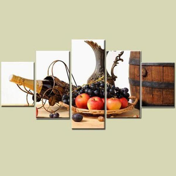Fruit Tray And Wine Canvas Wall Art Prints