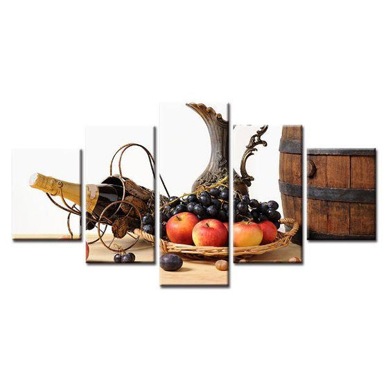 Fruit Tray And Wine Canvas Wall Art