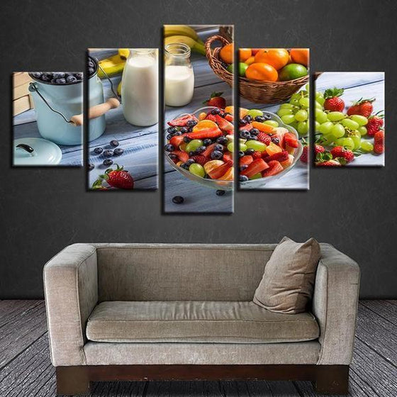 Fruit Salad And Milk Canvas Wall Art Living Room