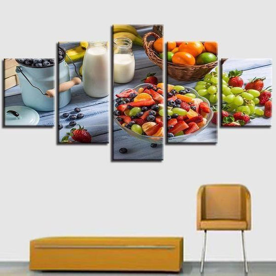 Fruit Salad And Milk Canvas Wall Art Office
