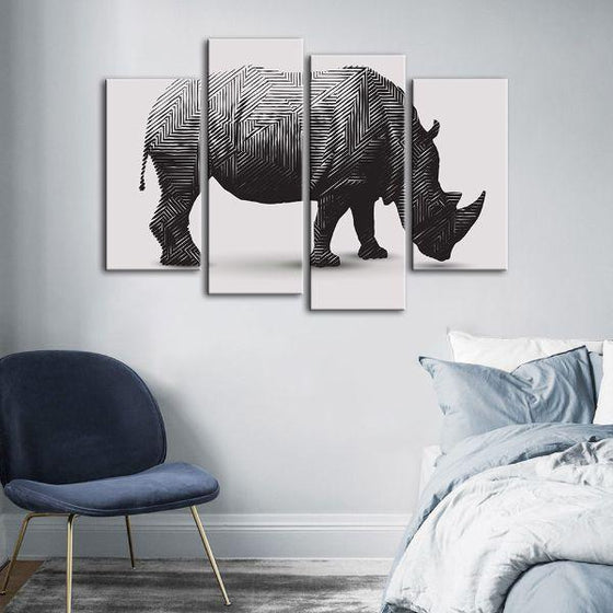 Geometric Rhinoceros 4 Panels Canvas Wall Art Bedroom