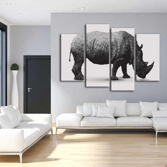 Geometric Rhinoceros 4 Panels Canvas Wall Art Living Room