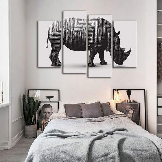 Geometric Rhinoceros 4 Panels Canvas Wall Art Set