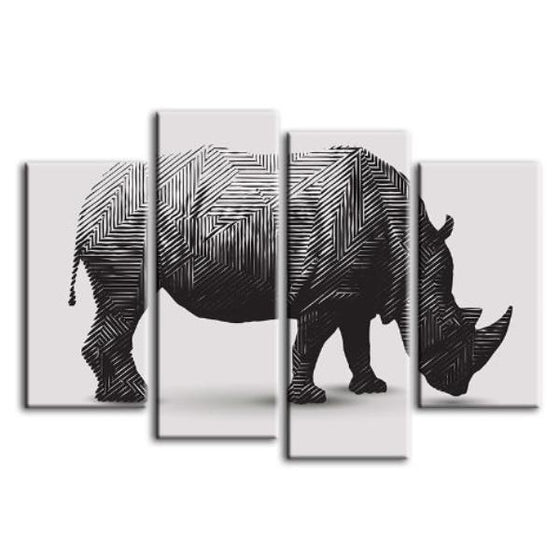Geometric Rhinoceros 4 Panels Canvas Wall Art