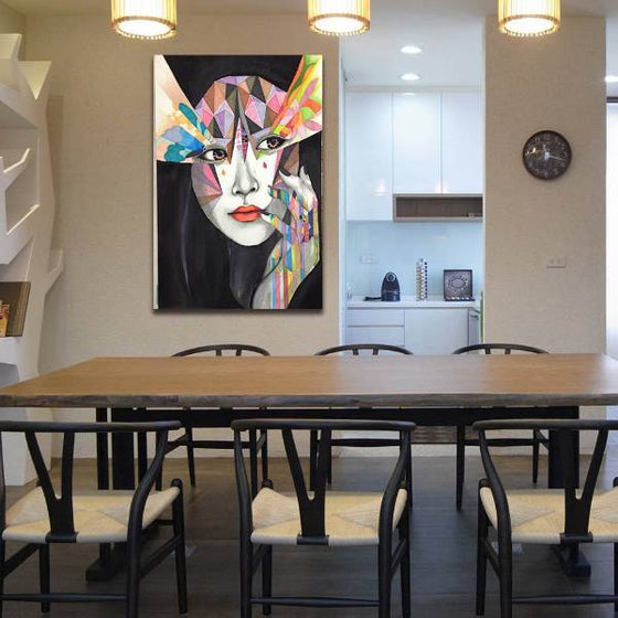 Geometric Style Woman Wall Art Dining Room