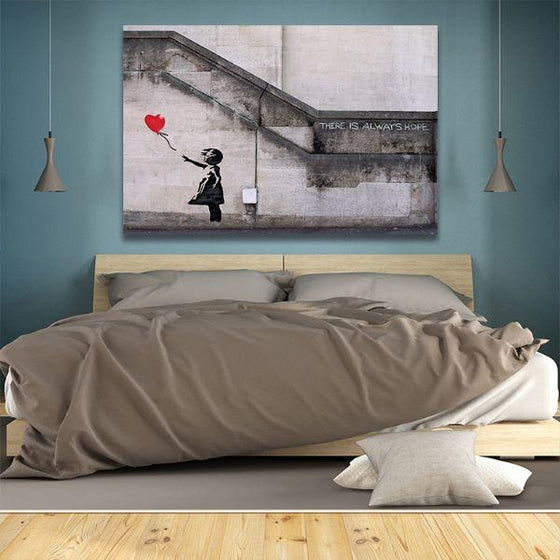 Girl With Balloon By Banksy Canvas Wall Art Bedroom