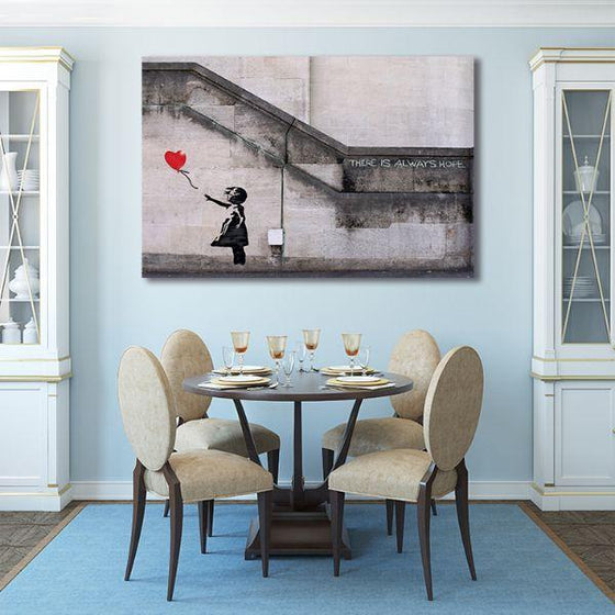Girl With Balloon By Banksy Canvas Wall Art Dining Room