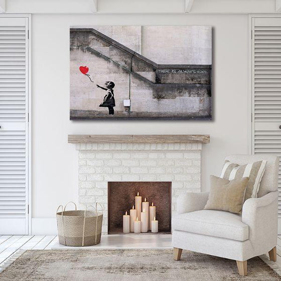 Girl With Balloon By Banksy Canvas Wall Art Living Room