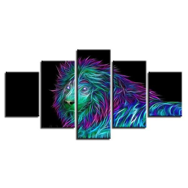 Glowing Lion Wall Art Canvas