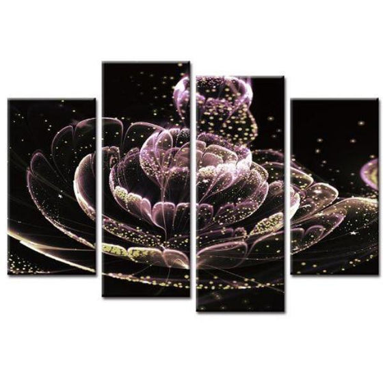 Glowing Purple Flower Canvas Wall Art