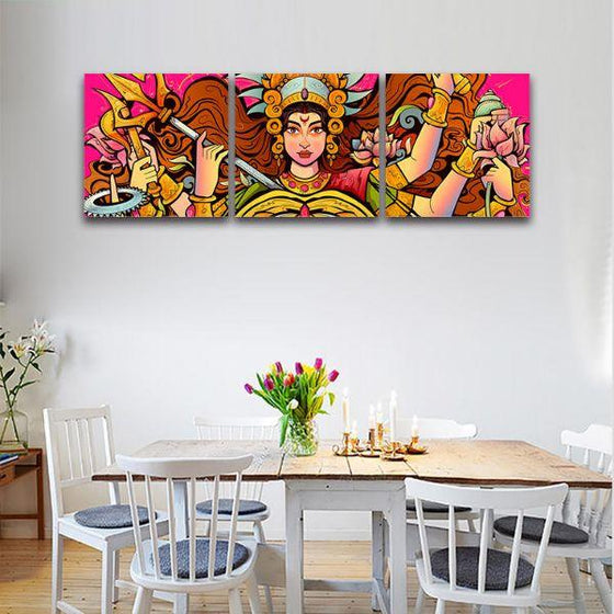 Goddess Durga Canvas Wall Art Dining Room