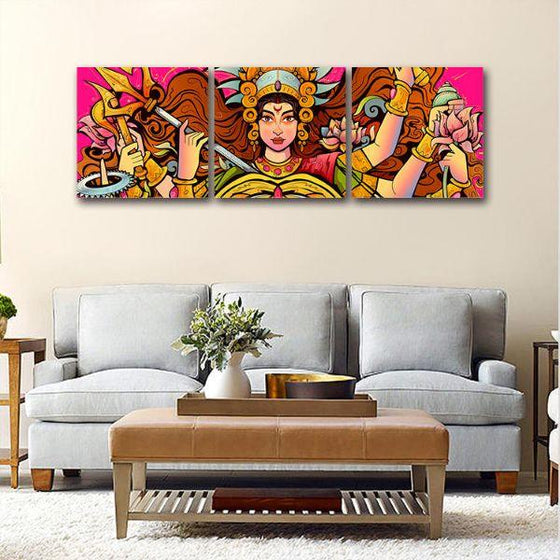 Goddess Durga Canvas Wall Art Living Room