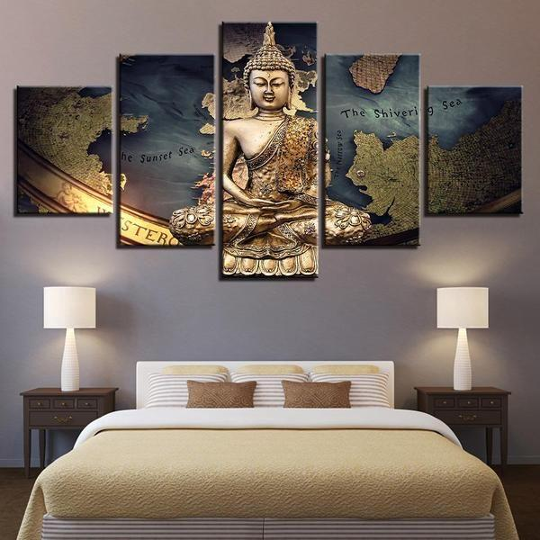 Golden Buddha on Game Map Canvas Wall Art — canvasx.net