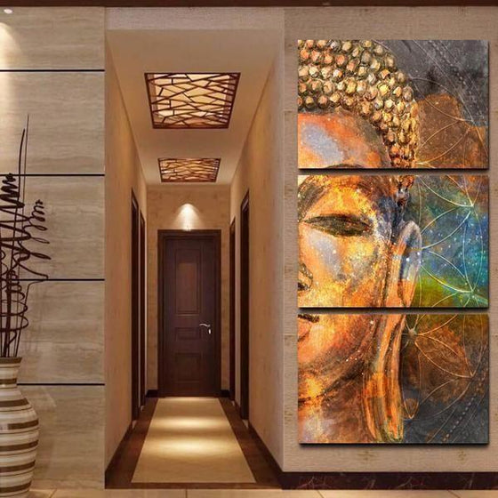 Golden Buddha Half Face Canvas Wall Art Living Room