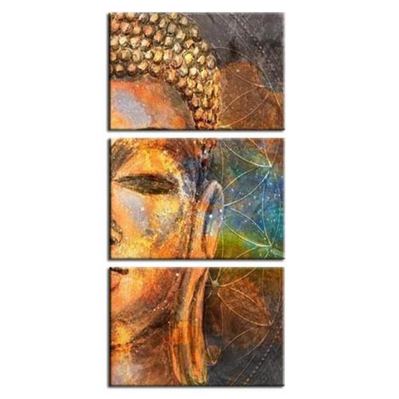 Golden Buddha Half Face Canvas Wall Art