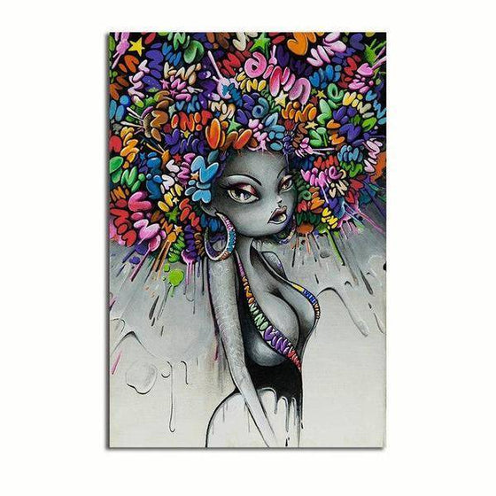 Graffiti Woman Hairstyle Wall Art Canvas