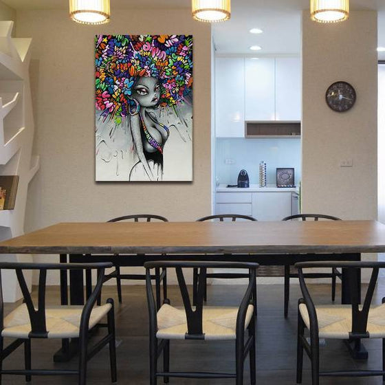 Graffiti Woman Hairstyle Wall Art Dining Room