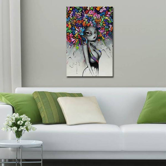 Graffiti Woman Hairstyle Wall Art Living Room