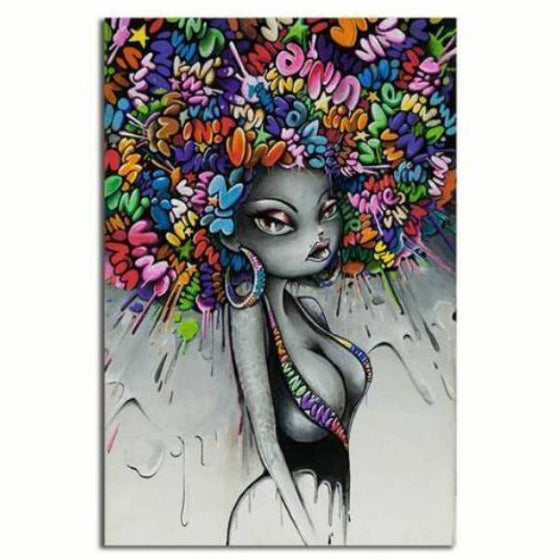 Graffiti Woman Hairstyle Wall Art