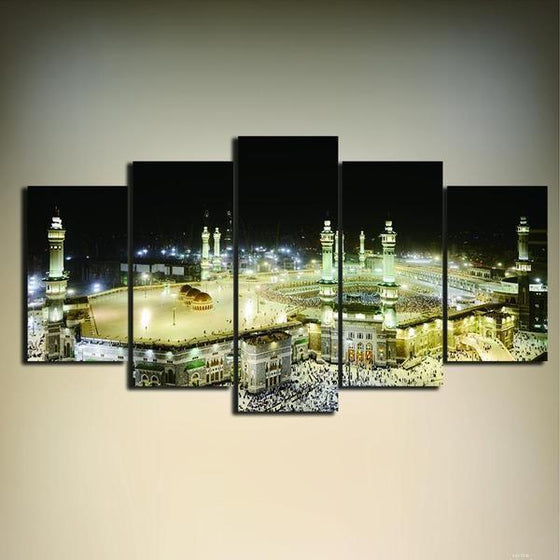 Grand Mosque In Mecca 5 Panels Canvas Wall Art