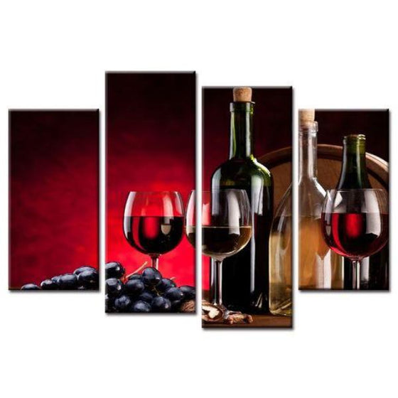Grape Wine Glasses Bottles Wall Art