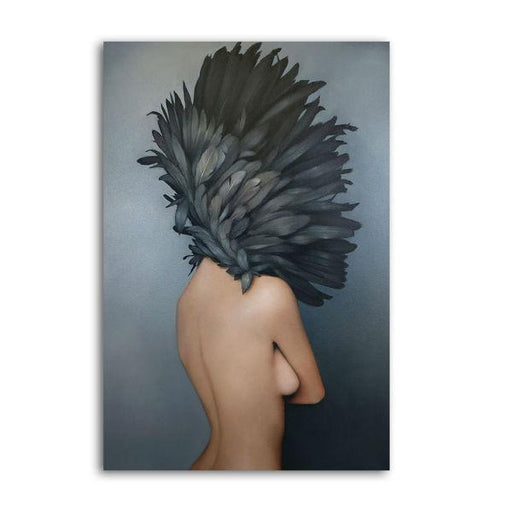 Gray Feathered Woman Wall Art