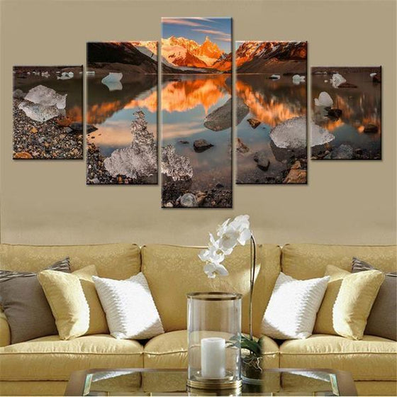Frozen Mountain Reflection Canvas Wall Art Living Room