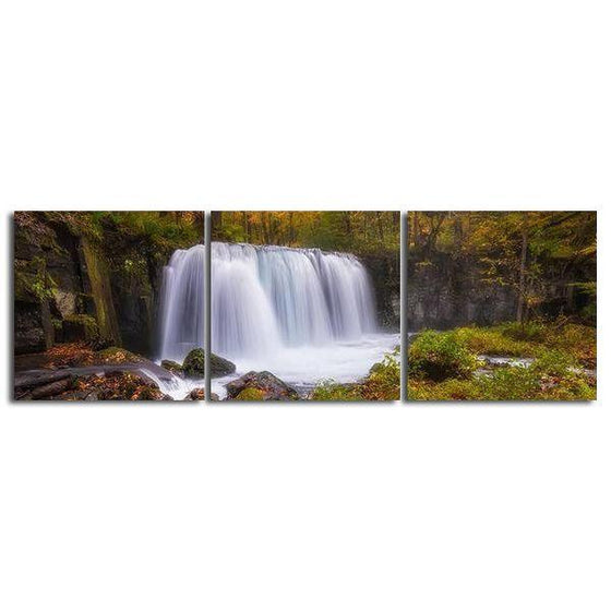 Green Forest Waterfall Canvas Wall Art