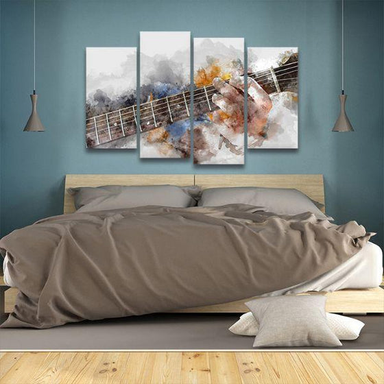 Guitarist Abstract 4 Panels Canvas Wall Art Bed Room