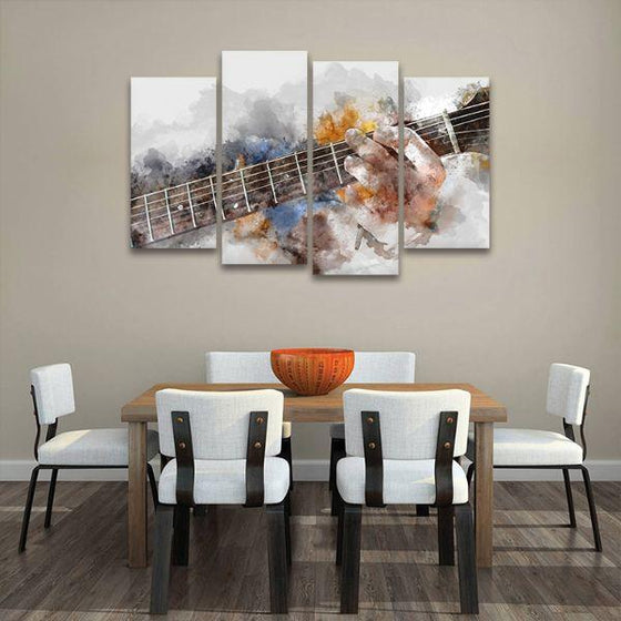 Guitarist Abstract 4 Panels Canvas Wall Art Dining Room