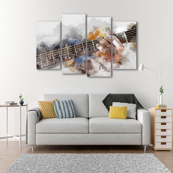 Guitarist Abstract 4 Panels Canvas Wall Art Living Room