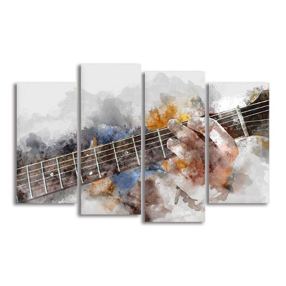 Guitarist Abstract 4 Panels Canvas Wall Art