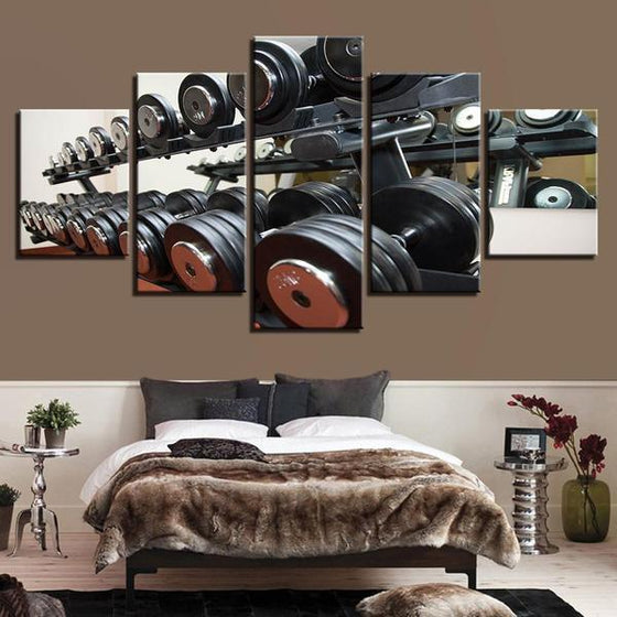 Gym Equipment Dumbbells Wall Art Bedroom