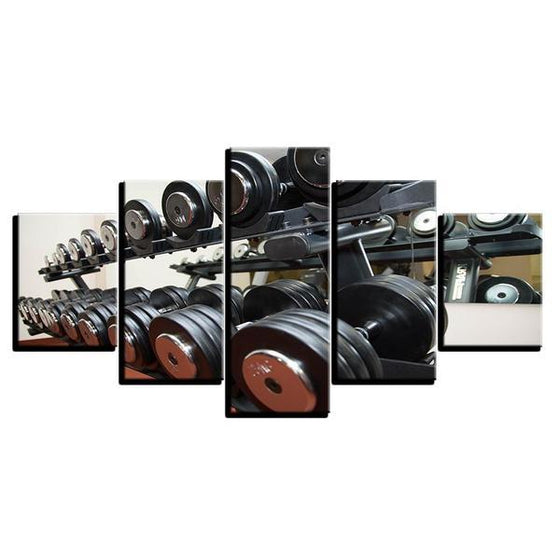 Gym Equipment Dumbbells Wall Art Canvas
