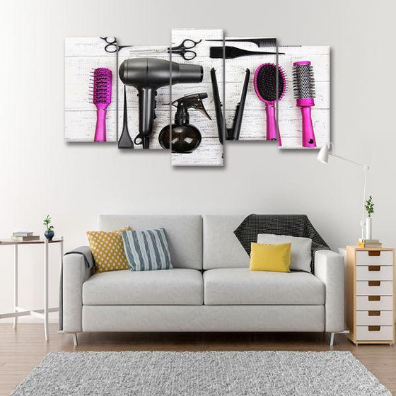 Hair Salon Tools 5-Panel Canvas Wall Art Set